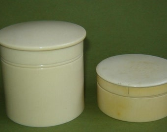 2 Vintage old 1930s ART DECO CELLULOID pERFUME cONTAINER Powder Box Vanity Jar