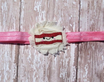 Cutie Bacon Headband | Pink and Ivory Bacon Rosette Geeky Headband | Newborn-Adult, Customize Your Colors!