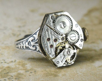 Women's STEAMPUNK Ring Jewelry - Torch SOLDERED - Vintage SOLOW Watch Movement w/ PIn Stripes, Original Crown & Petite Floral Etched Band