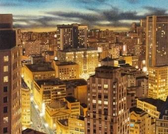 GOLDEN CITY  -  San Francisco cityscape -  watercolor reproduction