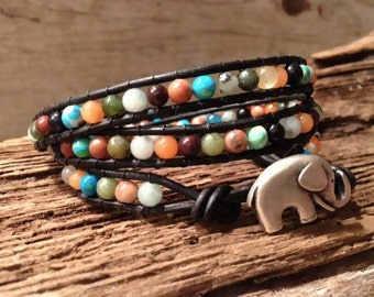 Elephant Button Leather 3 three Wrap Woven Bead Bracelet with semi precious 4mm Gemstones, very lucky.