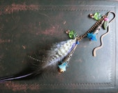 Book Mark // Holiday, Christmas, Copper, Flower, Feather, Blue, Fairy tail, Leaves, Bells