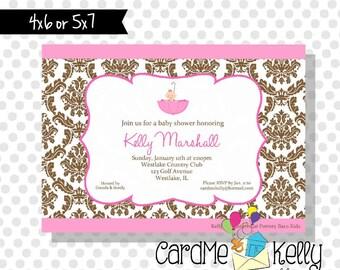 Printable Pink or Blue Damask Baby Umbrella Baby Shower Invitation- Digital File