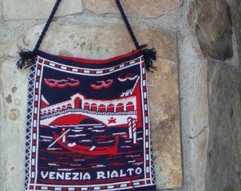 70s HAND KNITTED BAG vintage cross stitch hippie tote Venice Italy