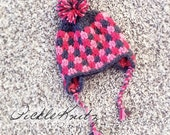 Earflap Beanie with Pom Pom and Braids--Dark Pink, Light Pink, Dark Grey --Newborn to 12M-- (Contact me for details about larger sizes)