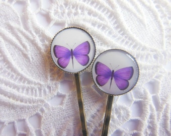 Purple Butterfly Hair Clips Bobby Pins