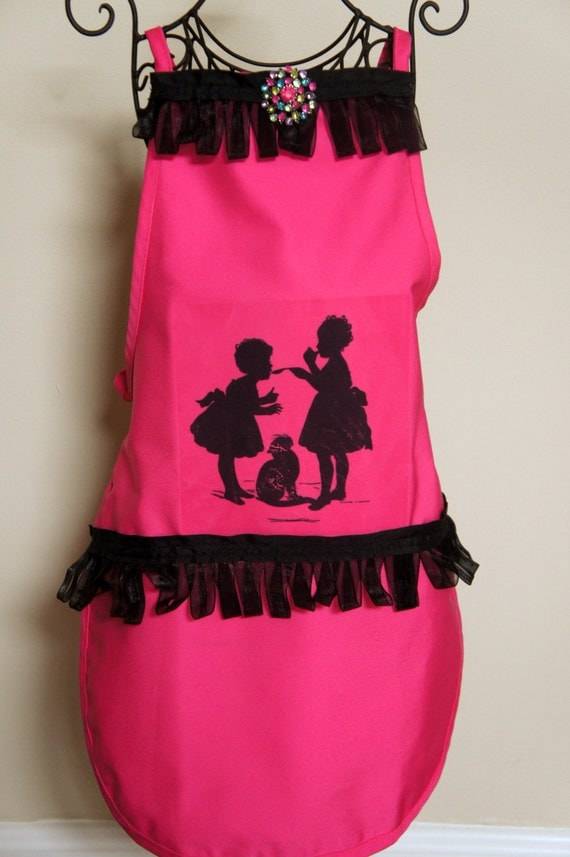 Little Girl Silhouette Apron - Pink and Black