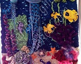 Ocean sea underwater adventure crochet fiber art 3ft x 3ft panel