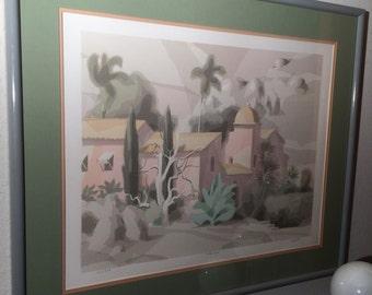 """Vintage Bill Buffett Serigraph Art Print Limited Edition """"VILLA ROSA"""" Framed 1986"""