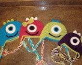 Crochet Monster Hat Pattern - Newborn to Child Sizes