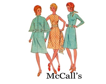 Dress & Cape Vintage Sewing Pattern 1970s Bust 34 Size 12 McCall's 3114 Classic design cape has standing collar
