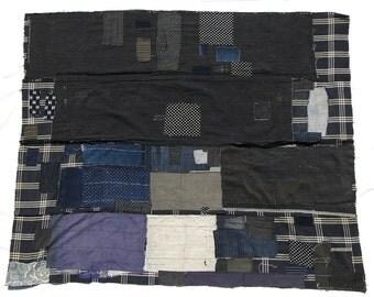 Large Japanese Boro Folk Textile Antique Ikat Indigo