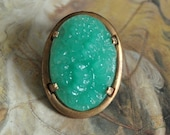 Vintage Old Brass Raised Carved Floral Jade Glass UPCYCLED Pin Brooch Lg