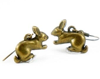 Rabbit Earrings - Antiqued Brass Bunny Dangle Earrings - CP071