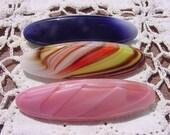 Pretty Slender Oval Vintage NOS Czech Glass Brooch