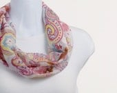Infinity Scarf with SPARKLE - Raspberry, Cayenne, Freesia, Hemlock and Cocoa on White Sheer in Various patterns ~ SH231-S1