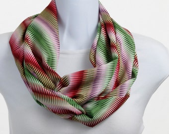 Infinity Scarf - Red, Pink, Taupe, Sage with White and Black - Geometric design ~ SK197-L5