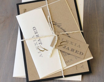 "Rustic Wedding Invitation, Modern Wedding Invitations, Rustic Black and White Wedding Invitations - ""Rustic Black & White"" Sample"