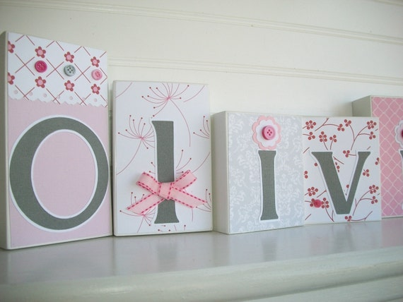 Pink And Grey Wall Art . Baby Name Blocks. Pink By