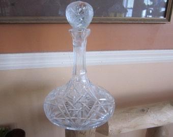lge cut glass decanter, wine, liquor decanter, bar ware