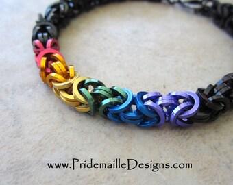 Square Wire Rainbow Byzantine Bracelet - Chainmaille Jewelry