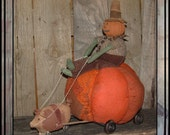 Primitivehand painted folk art pumpkin head rag doll pumpkin pig pull toy HAGUILD HAFAIR OFG