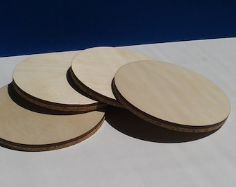 Unfinished Round Blank Coasters Ready for Your Artwork - Set of 4 (CS-401)