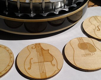 Wood Coasters Bluegrass Music - Laser Cut Etched Set of Four (CE-BG4)