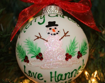 Snowman Handpainted Ornaments Made to Order with holly and Swarvoski rhinestones for the berries
