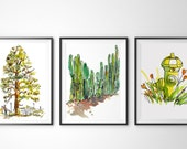 Set of 3 prints. Archival prints of original watercolor sketches
