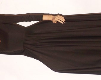 Vintage Dress. 1970s High Fashion. Chocolate Brown. Ballet Style. Small