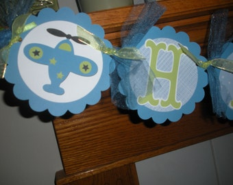 Planes Birthday Banner, Boy Banner, Airplane Birthday banner, Blue and Green Plane Birthday banner, Matching Tissue Pom Poms Are Available