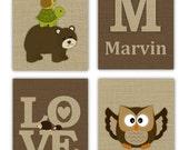 "Woodland Nursery Decor // Forest Animal Wall Art For Kids Art Prints // Custom Wall Decor for Kids // Set of Four 5""x7"" CHOOSE FOUR PRINTS"
