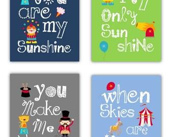 Circus Nursery Decor // Circus Art for kids // Circus Nursery Art // Circus Decor // Circus Art Prints // Circus Art Boys 4-8x10 PRINTS ONLY