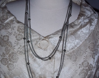 Doubled Silver Tone Ball Chain Necklace Flapper Style
