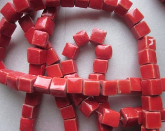 Red Porcelain Cube Beads 8x8mm 20 Beads