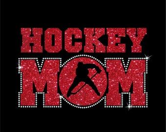 Women's Glitter and Rhinestone Hockey Mom Shirt