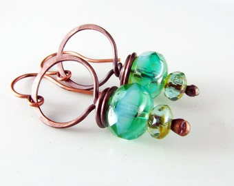 Copper Earrings Wire Wrapped Turquoise and Copper Czech Picasso Earrings Wire Wrapped Jewelry Copper Jewelry Hoop Earrings