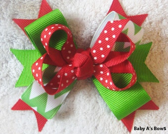 Christmas/Holiday Red Polka Dot and Apple Green Chevron Multi Layer Boutique Bow