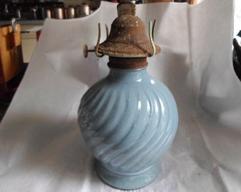 Vintage Light Blue Swirl Glass Oil Lamp 1960s to 1980s Kaadan, Ltd Rustic Decor Light Power Outage Shabby Chic Kerosene Useable