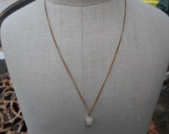 Vintage Gold Tone Mother of Pearl Disks 1950s to 1960s Necklace 1/20 10 KT Gold Filled Dainty