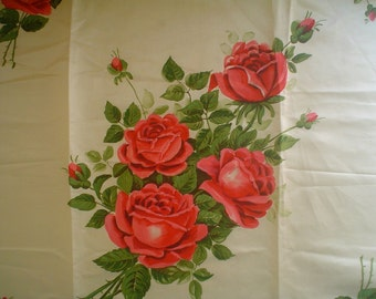 Antique Pillow Top with Hand Painted Red Roses Vintage Fabric Panel