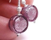 Shimmery Purple Murano Glass Bead Earrings, Italian Glass Coin Bead Silver Foil Bead Earrings, Sophisticated Mini Earrings