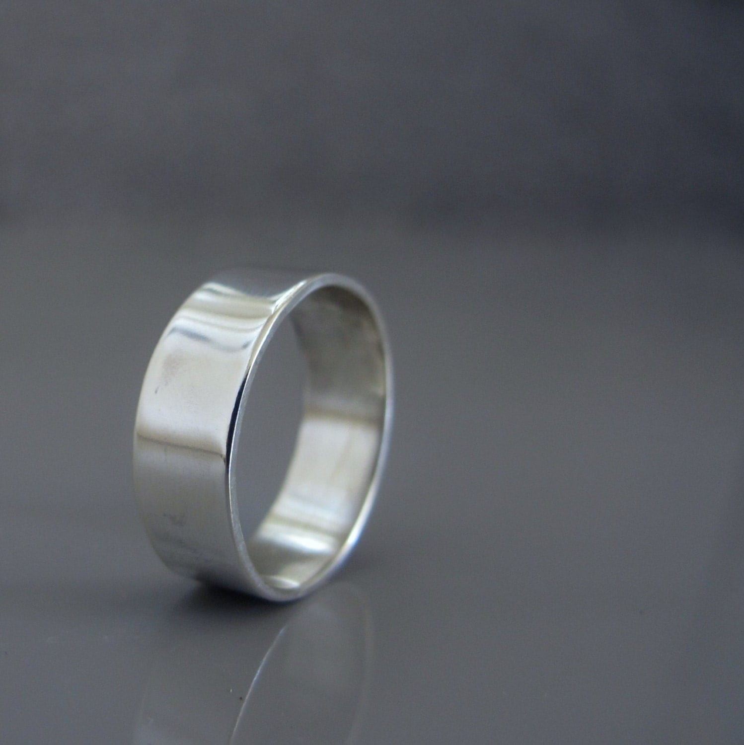 Silver Wedding Band For Men Mens Simple Wide Silver Band