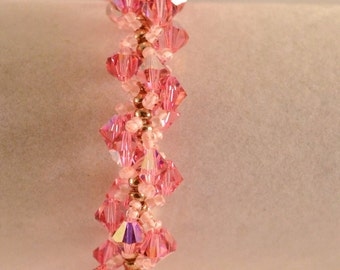 Handmade Medium Pink Swarovski Crystal Spiral Bracelet Wedding Bracelet Womens Birthday Gifts Valentines Day Gifts