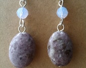 SALE** Lepidolite earrings oval purple gemstone