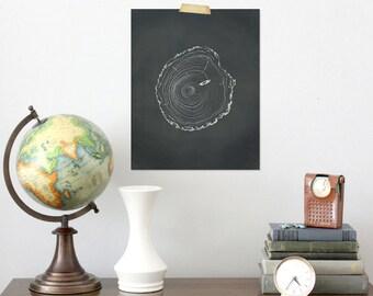 8 x 10 Tree Ring Illustration, Digital Download, White on Distressed Black