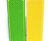 Paper Bookmarks- Yellow and Green Polka Dots: Set of 2- approx. 2 1/2 x 7 inches