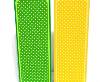 Green and Yellow Polka Dots: Paper Bookmarks Set of 2- approx. 2 1/2 x 7 inches