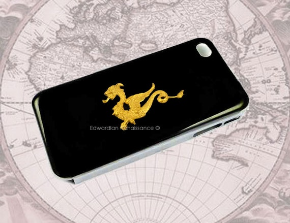 Golden Dragon Iphone Case Inlaid in Hand Painted Glossy Black Enamel Game of Thrones Inspired Titanium Phone Cover Custom Colors Available